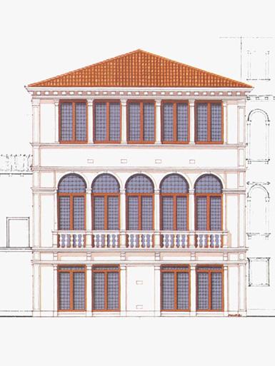 Palazzo Foscari Contarini, Venezia. Immagine del prospetto sul canale.