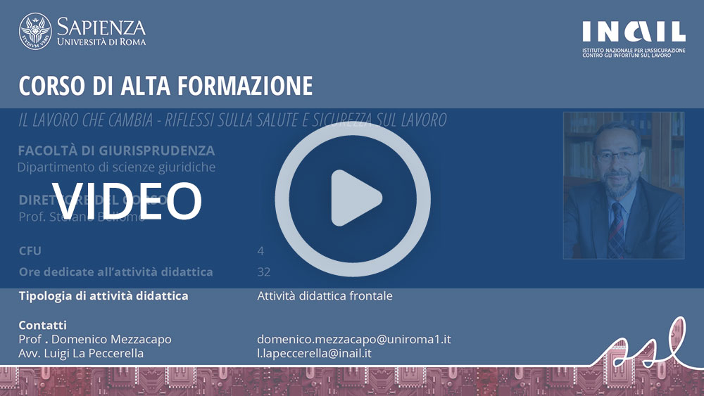 Master Sapienza/Inail - Corso di alta formazione: