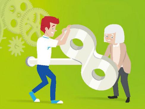 Immagine della campagna Eu-Osha sull'invecchiamento attivo