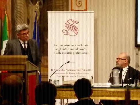 Il commissario straordinario dell'Inail, Massimo De Felice, durante il suo intervento alla seconda Assemblea nazionale sull'amianto