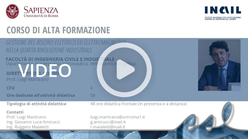 """Master Sapienza/Inail - Corso di alta formazione: """"Gestione del rischio elettrico ed elettromagnetico nella quarta rivoluzione industriale"""""""
