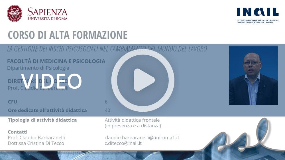 """Master Sapienza/Inail - Corso di alta formazione: """"La gestione dei rischi psicosociali nel cambiamento del mondo del lavoro"""""""""""