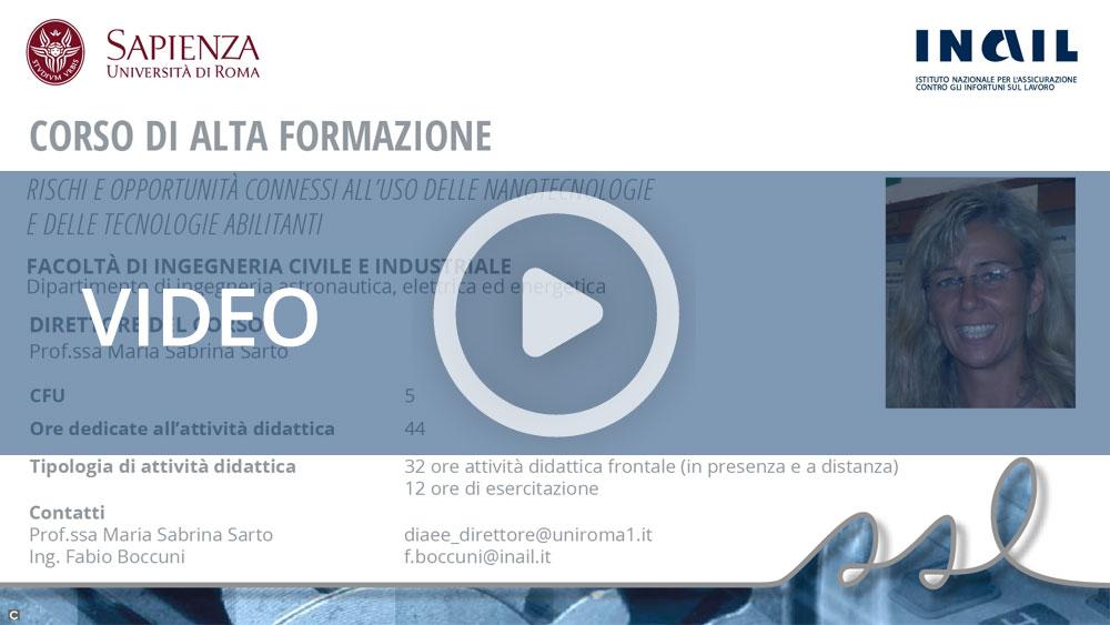 """Master Sapienza/Inail - Corso di alta formazione: """"Rischi e opportunità connessi all'uso delle nanotecnologie e delle tecnologie abilitanti"""""""