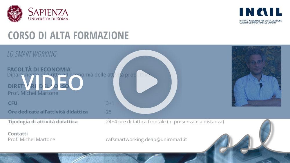 """Master Sapienza/Inail - Corso di alta formazione: """"Lo smart working"""""""