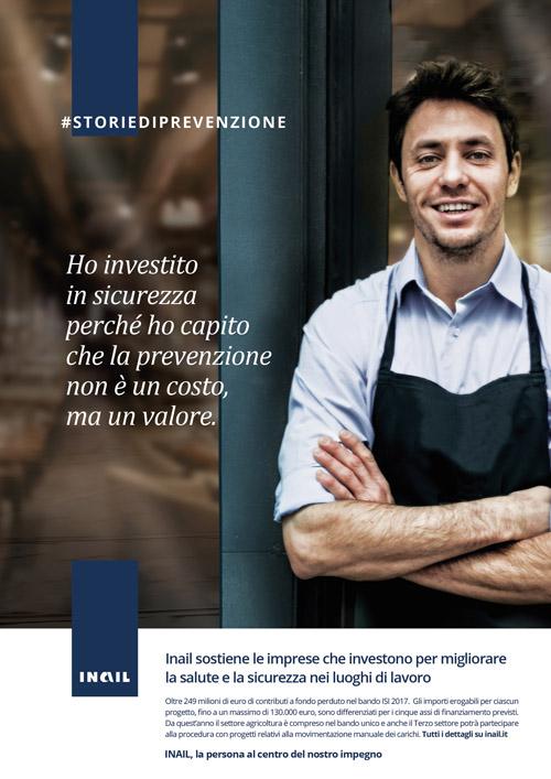 """""""Inail sostiene le imprese che investono per migliorare la salute e la sicurezza nei luoghi di lavoro"""" - Creatività della campagna per il bando Isi 2017."""