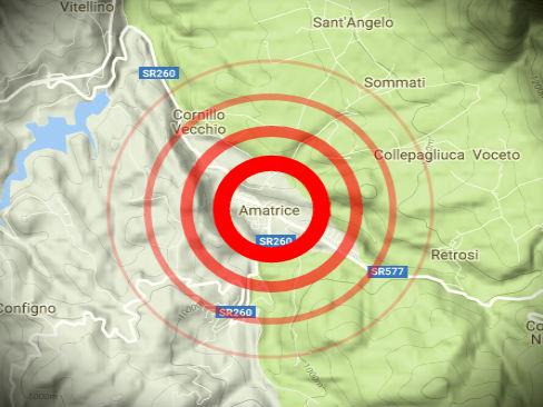 Mappa dell'area del Comune di Amatrice