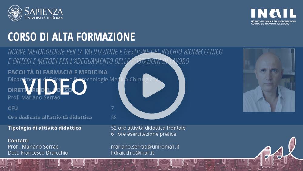 """Master Sapienza/Inail - Corso di alta formazione: """"Rischio biomeccanico"""""""