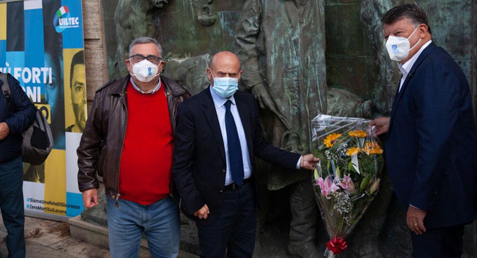 Franco Bettoni presidente Inail, con Pierpaolo Bombardieri (Uil) e Paolo Pirani (Uiltec)